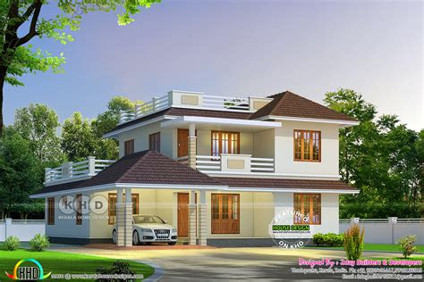 cute sloping roof house  square feet kerala home