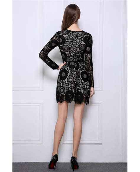 Stylish A Line Black Lace Mini Wedding Guest Dresses With