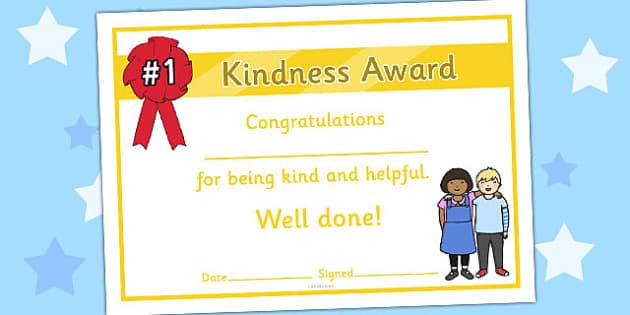 Kindness Award Certificate - kindness award certificates