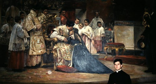 This is a large, Spanish painting at St Charles Seminary in Philadelphia, with the new priest giving his first blessing to his mother after having sung his first High Mass.