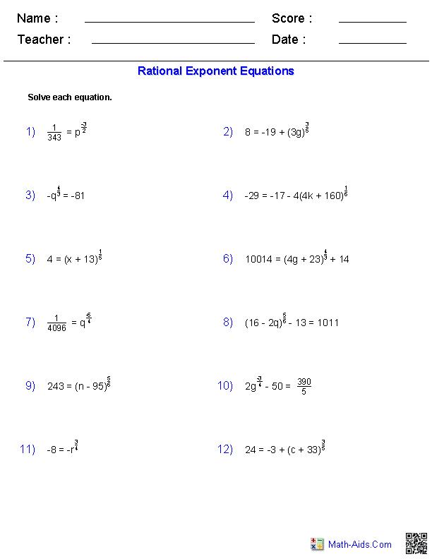 Algebra 2 Worksheets Radical Functions Worksheets