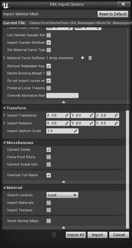 Exporting the Mannequin Skeleton from Unreal Engine 4 to