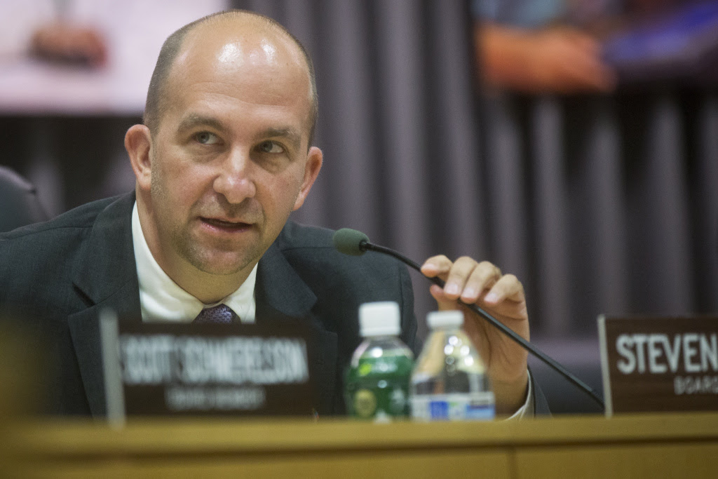 Los Angeles Unified's newly elected school board president, Steve Zimmer, speaks during a board meeting on July 1, 2015 at LAUSD headquarters.
