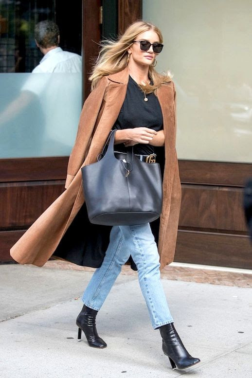 Le Fashion Blog Model Style Rosie Huntington Whiteley Sunglasses Long Brown Suede Coat Grey Tee Pendant Necklace Gucci Belt Tote Bag Jeans Black Leather Boots Via British Vogue