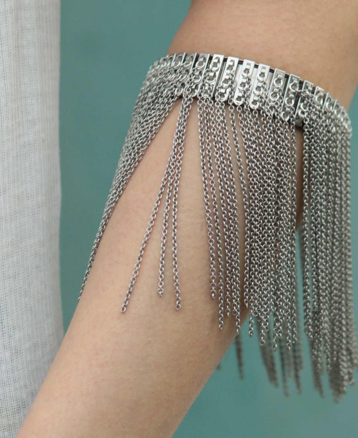 Expandable Fringe Cuff - Oxidised silver plated