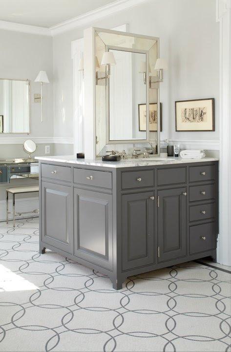 back to back single vanities charcoal gray bathroom