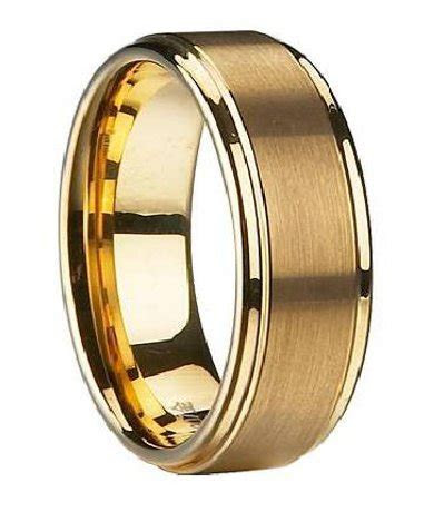 Men's Wedding Band in Gold Plated Tungsten, Traditional   8mm