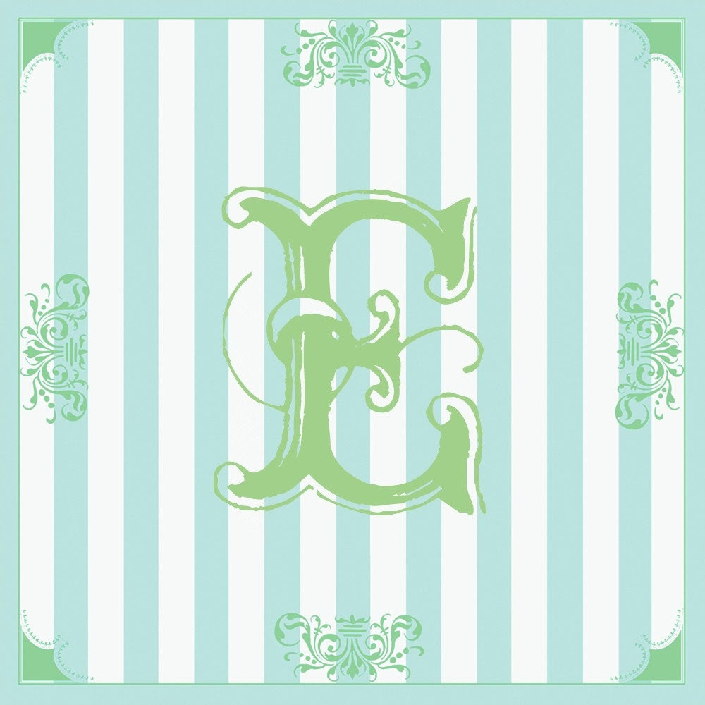 Initial Letter E print - Green with Blue Striped Background