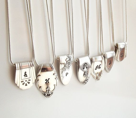 #Silverware #Initial #Necklace