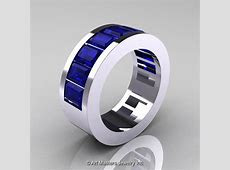 Mens Modern 14K White Gold Blue Sapphire Channel Cluster Wedding Band R174RM 14WGBS   Art
