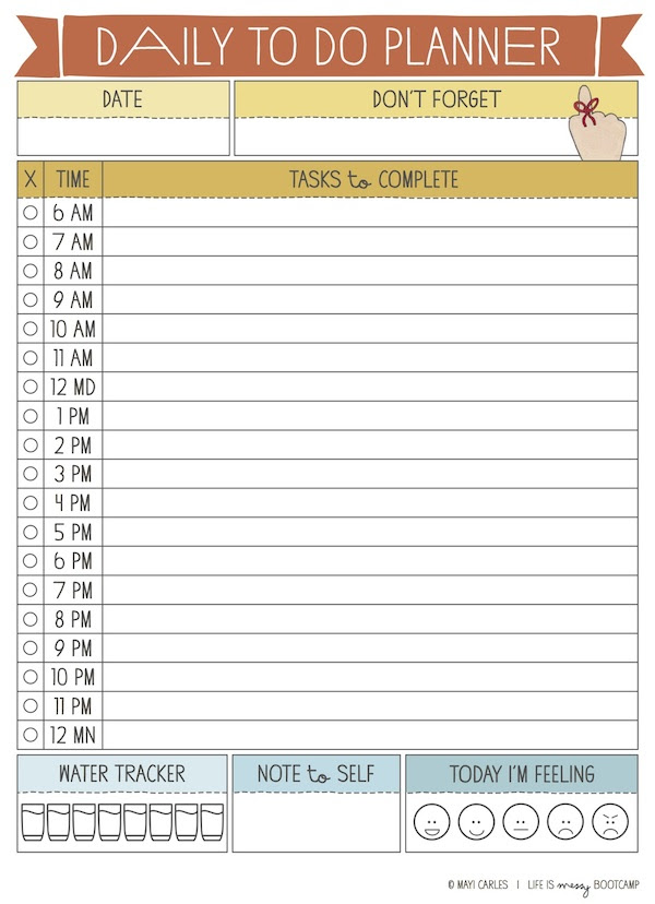 Daily Planner With Hours