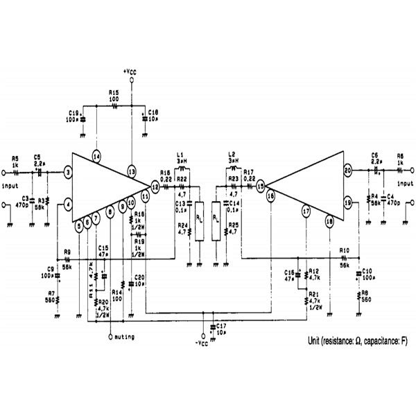 ic based 100watts stereo amplifier circuit with power
