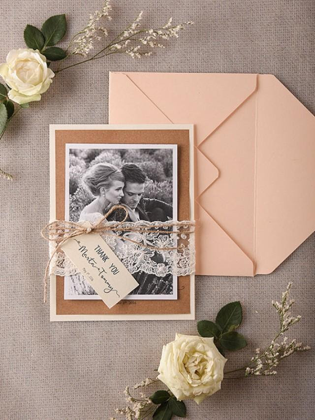 Personalised Wedding Thank You Card Rustic Thank You Cards Peach