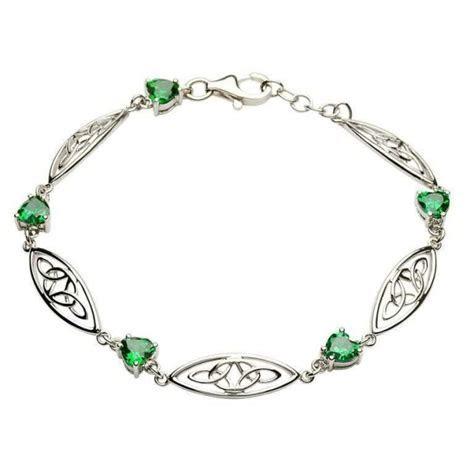 Celtic Silver Stone Set Trinity Bracelet