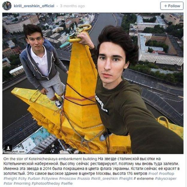 Russo Kirill Oreshkin, que posta fotos em cima de edifícios, tem quase 18 mil seguidores no Instagram