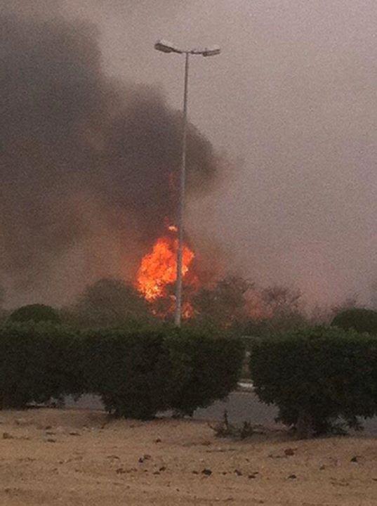 saudi arabia oil pipeline on fire