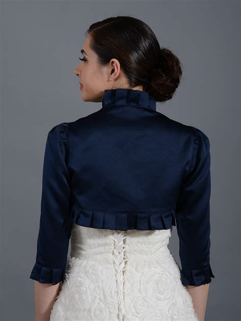 Navy Blue 3/4 sleeve wedding satin bolero jacket Satin008