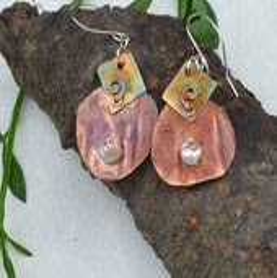 Copper Patina Earrings - Pearl - Brass - Sterling
