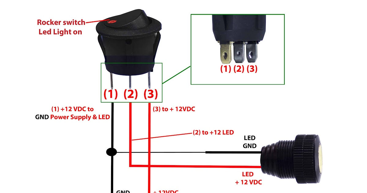 Round Rocker Switch 12v Led Prewired In Blue  Red  Green