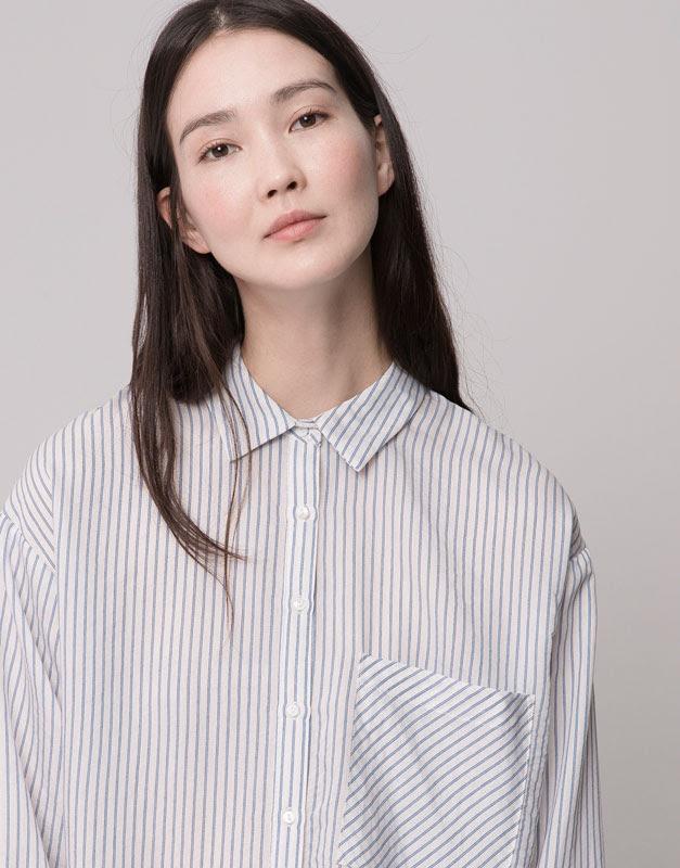 Pull&Bear - mujer - blusas y camisas - camisa oversized manga larga - celeste - 09471335-I2015