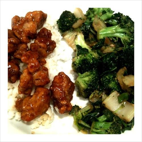 Sautéed Broccoli & Bok Choy w/ Mandarin Orange Chicken