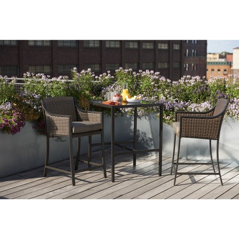 3 Piece Wicker Bar Height Patio Set