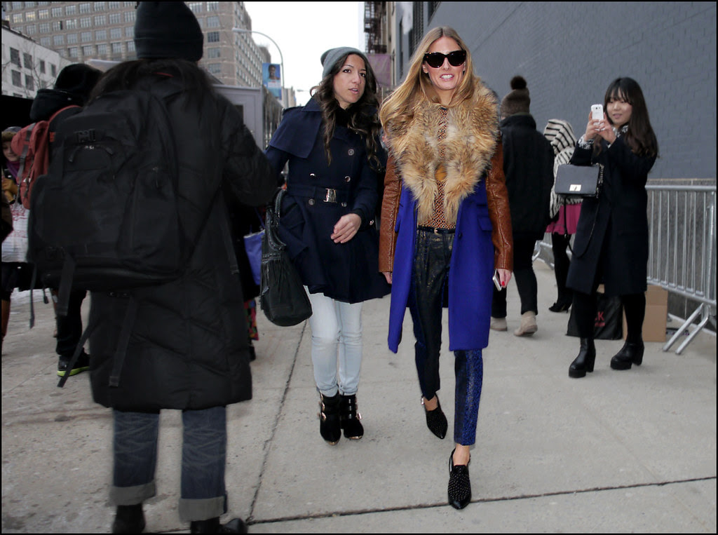 FW 2014-2 -21 olivia palermo fur collared blue coat brown leather sleeves blue snake print pants black shoes with studs ol db