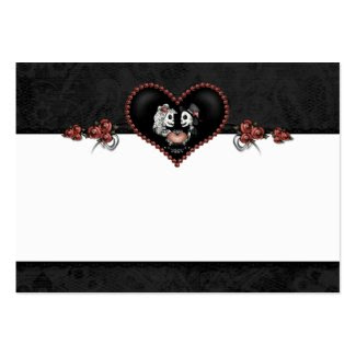 Wedding Skeleton Black Gray Heart BLANK Place Card