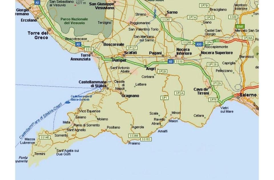 Map Of Italy Amalfi Coast   Zip Code Map