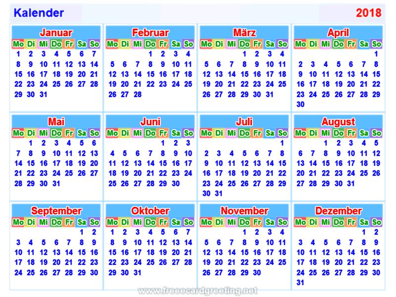 calendar 2018_german
