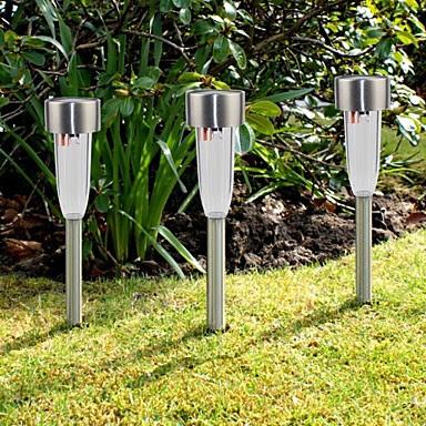 Set of 8 White Stainless Steel Solar Path Lights Lawn Lamp Solar Garden Light Stake 1307893 2017