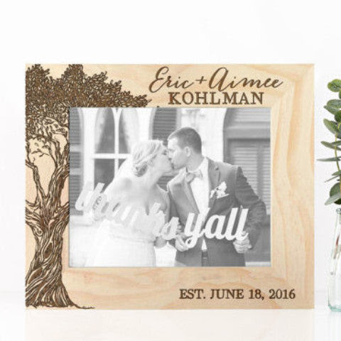 Wooden Frame Engraved Names Wedding Date Z Create Design