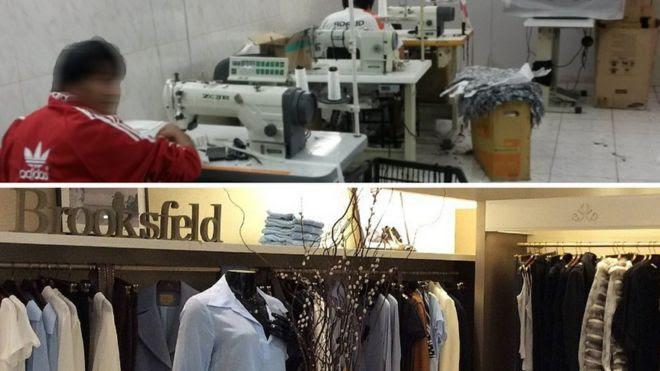 Trabalhador em oficina de costura e vitrine da loja Brooksfield