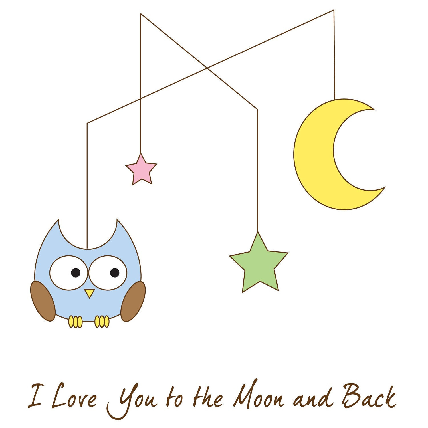 I Love You to the Moon and Back - Nursery Print 8 x 8