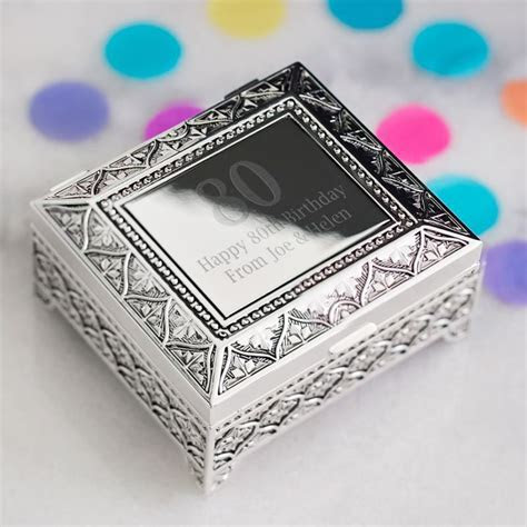 80th Birthday Engraved Trinket Box   The Personalised Gift
