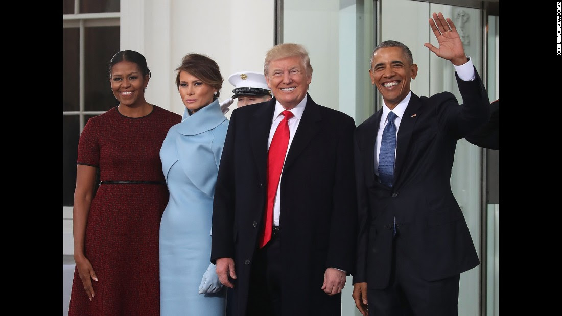 """The Obamas welcome President-elect Donald Trump and his wife, Melania, to the White House as they arrive for <a href=""""http://www.cnn.com/2017/01/17/politics/donald-trump-inauguration-how-to-watch/index.html"""">inauguration festivities</a>. Trump's swearing-in will mark the culmination of a stunning upset victory in last year's bitter presidential election."""