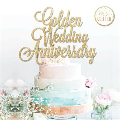 golden wedding anniversary cake topper  glitter gold