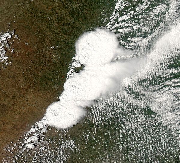 An image of a tornado-generating storm system above Moore, Oklahoma...taken by an Earth Observing Satellite on May 20, 2013.