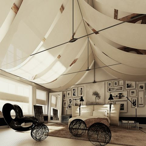 a tented bedroom.