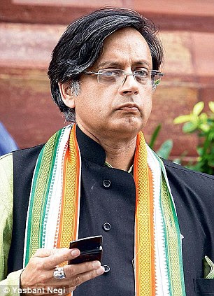Shashi Tharoor was left red-faced after the messages appeared on his Twitter feed suggesting he was having an affair with a Pakistani journalist