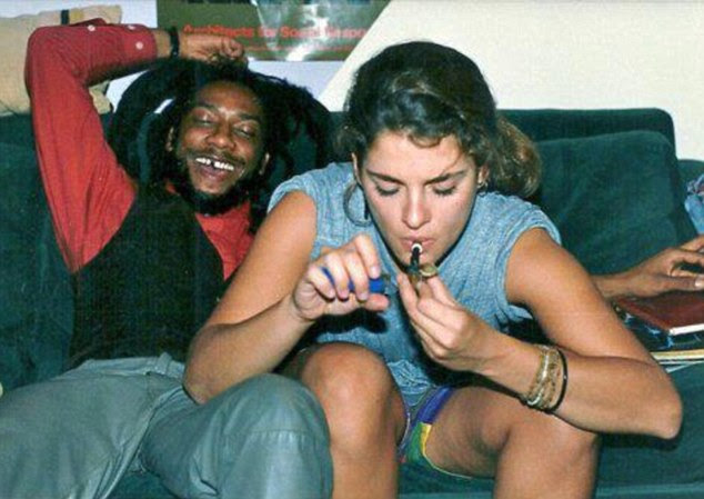 Suspicious: This image of Brooke Shield's allegedly smoking cannabis with hardcore punk artiste H.R was leaked on the internet