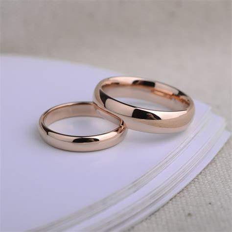 Engravable Tungsten Wedding Bands, Domed Rose Gold / Gold