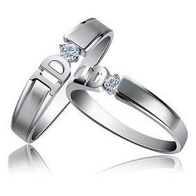 "ROMANTIC ""I DO RINGS"": It's Sterling Silver 925 2 Rings His and Hers Promise Rings ""I Do"" Amazing Design with Unique Handset Cubic Zirconia Stone. All ..."
