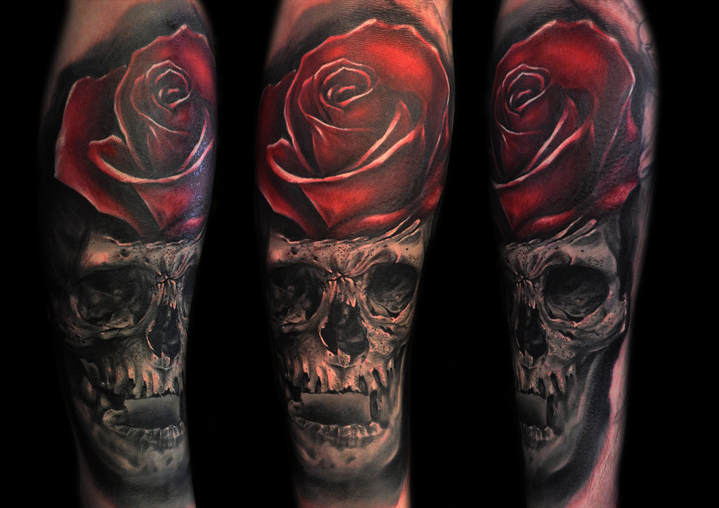 Amazing Skull And Rose Tattoo By Max Pniewski Design Of