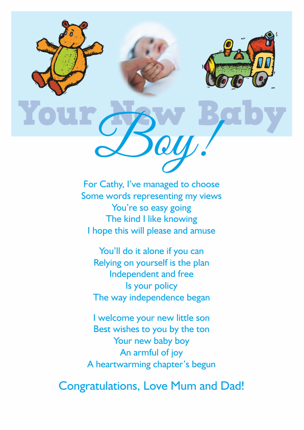 New Baby Boy Poetry Cards