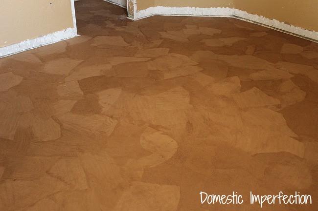 Paper bag floor before stain