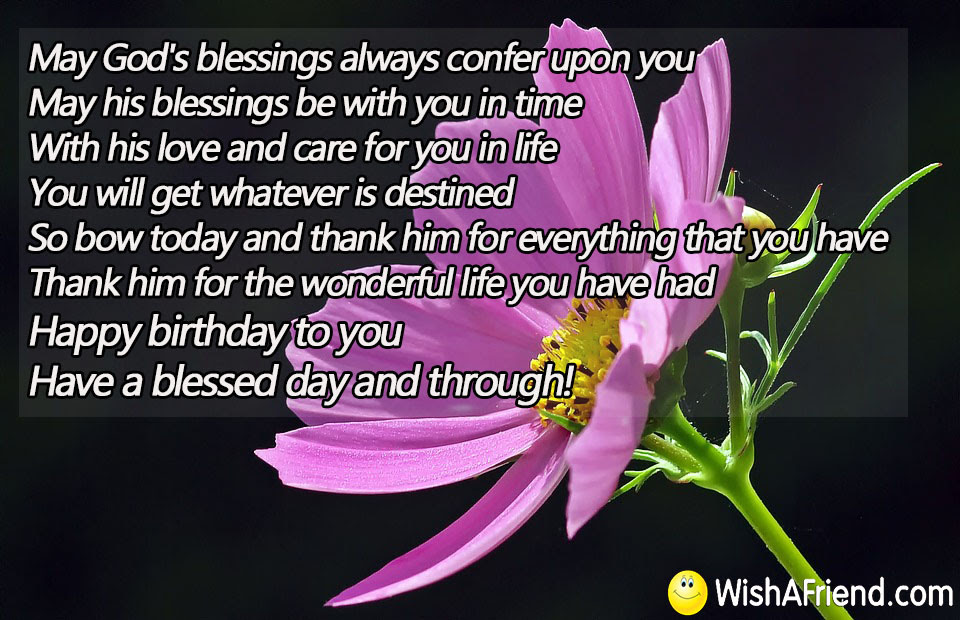 May Gods Blessings Always Confer Upon Religious Birthday Quote