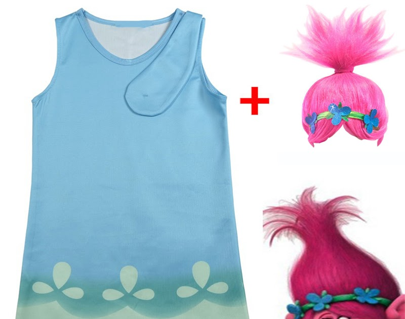Trolls Poppy Cosplay Costumes  Clothes Kids Party Holiday Birthday Dress k85