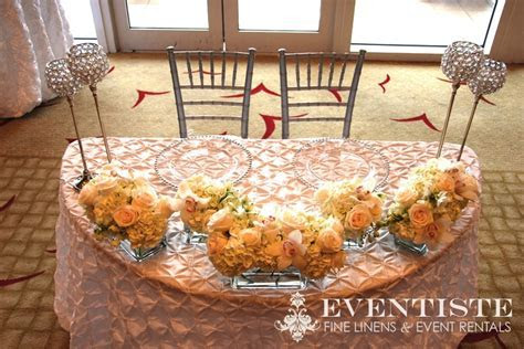 Sweetheart table, half moon table, clear gem holders