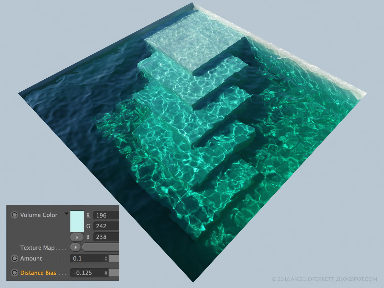 acqua e caustiche con Cinema 4D e Vray